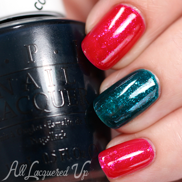OPI Color Paints - Glass Fleck layering via @alllacqueredup