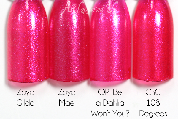 Zoya Mae comparison swatch - Summer 2015 Paradise Sun via @alllacqueredup