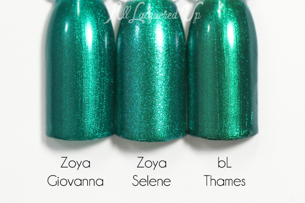Zoya Selene comparsion swatch - Summer 2015 Paradise Sun via @alllacqueredup