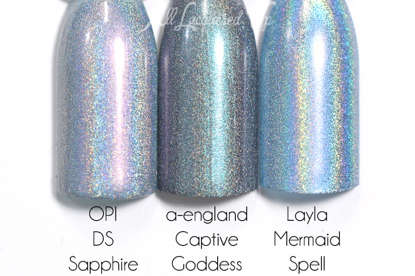 a-england Captive Goddess comparison swatch - Rossetti's Goddess via @alllacqueredup