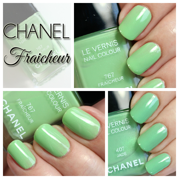 Chanel Fraicheur swatches vs Jade via @alllacqueredup