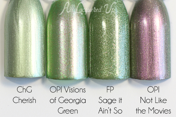 OPI Visions of Georgia Green comparison via @alllacqueredup