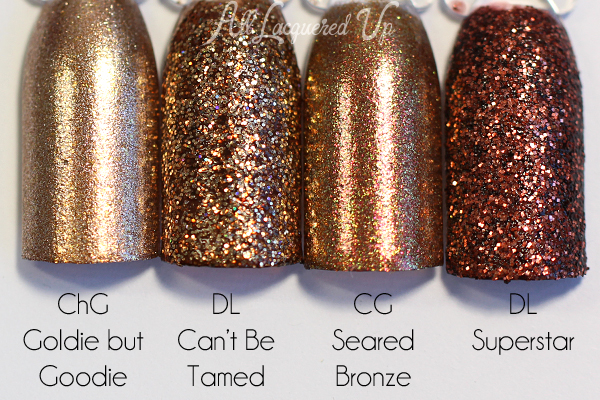 Deborah Lippmann Can't Be Tamed swatch comparison via @alllacqueredup