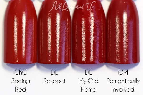 Deborah Lippmann Respect swatch comparison via @alllacqueredup