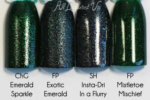 FingerPaints Exotic Emerald swatch comparison via @alllacqueredup
