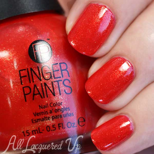 FingerPaints Vermillion $ Painting swatch via @alllacqueredup