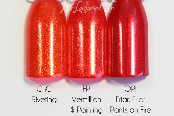 FingerPaints Vermillion $ Painting swatch comparison via @alllacqueredup