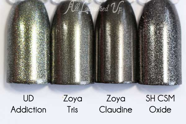 Zoya Tris comparison swatch - Flair Fall 2015