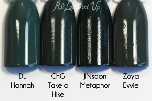 China Glaze Take a Hike comparison