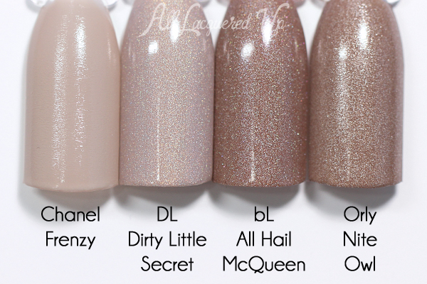 Deborah Lippmann Dirty Little Secret comparison - Spring 2016